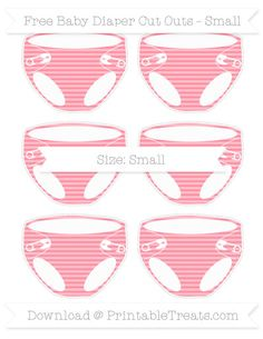 Salmon Pink Horizontal Striped  Small Baby Diaper Cut Outs