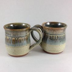 Pottery Mugs Matching Ceramic Mugs Set of Two Stoneware Mugs by CharlotteLeePottery on Etsy