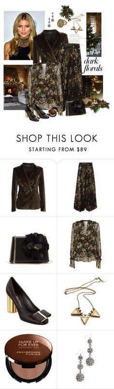 """Dark Florals!"" by schneerose ❤ liked on Polyvore featuring Tagliatore, Alice + Olivia, Lanvin, Robert Rodriguez, Salvatore Ferragamo, MAKE UP FOR EVER and Lulu Frost"