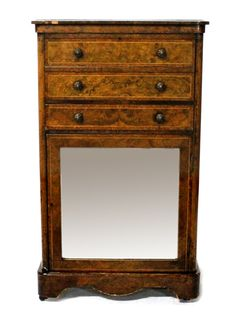 A Victorian figured walnut secretaire cabinet of small proportions, the top two drawers revealing a fitted interior over one further drawer and mirrored cupboard, 62cm wide.