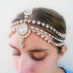 Gold Kundan Pearl Matha Patti - Wedding Bridal Goddess Head Chain by Trendfinity on Etsy