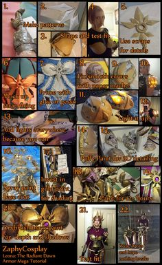 Costume by Zaph! Materials used: Worbla's Finest Art (~1.25 XL sheets, I think) Paper mache Craft foam Gesso and wood glue 3D puffy paint Silver florist wire 9 shades of gold paint 3 sh...