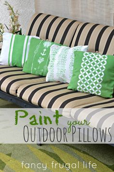 How to paint your outdoor pillows with Chalk Paint® decorative paint by Annie Sloan   By Fancy Frugal Life
