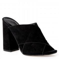 Kimmie block heeled mule in Black faux suede