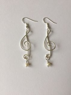 Musical Treble Clef Silver Wire Earrings With Fresh Water Pearls by GiftsbyKarenM on Etsy