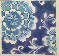 Porcelain floral hand painted needlepoint canvas by Jean Smith