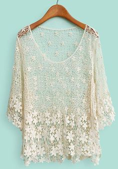 Oooh, like this ...  Apricot Flowers Embroidery Hollow-out Thin Lace Pullover