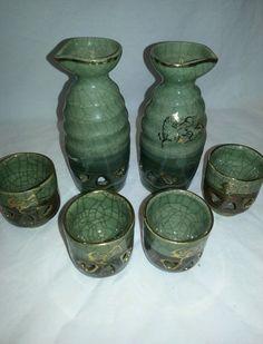 Vintage 6pc sake set ceramic double walled made in Japan green/brown gold trim