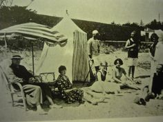 I like the idea of structures mixed with large striped umbrellas. This is a picture from about showing Gerald and Sara Murphy (friends of Scott & Zelda) with friends on La Garoupe Beach, Antibes, and an iconic beach cabana. Canopy Curtains, Door Canopy, Fabric Canopy, Canopy Tent, Ikea Canopy, Beach Canopy, Backyard Canopy, Canopy Outdoor, Princess Canopy