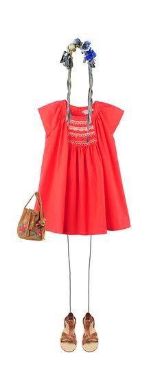 Aurore dress Cherry Bucket drawstring bag Nutmeg Navplia sandals Natural