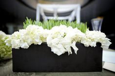 I like these white flowers in this black planter.