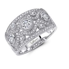 Lafonn Bezel Set Wide Band - Sterling silver bonded with platinum wide band featuring 2.18 carats of round bead set and bezel Lafonn diamond simulants.