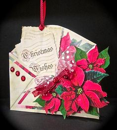 An envelope shaped card with a pocket front and decoupage layers. Kit contains 4 sheets - card front - insert - greeting labels - decoupage layers as well as photographic instructions. The card is approx. 18.5cm x 17cm when closed. The pocket is large enough to contain the greeting card as well as gift cards or money.