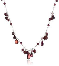 Sterling Silver Garnet Necklace, 17' *** For more information, visit image link.