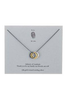 22K Gold Plated Sterling Silver & Oxidized Sterling Silver Gratitude Charm Necklace