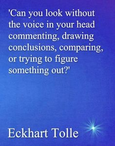 eckhart tolle - can you look without the voice in your head commenting, drawing conclusions, comparing, or trying to figure something out?