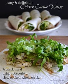 An all-in-one meal, Chicken Caesar Wraps are made with a rotisserie or slow-cooked chicken, a classic homemade Caesar dressing, and are served warm or cold. Real Food Recipes, Great Recipes, Dinner Recipes, Cooking Recipes, Favorite Recipes, Slow Cook Whole Chicken, Slow Cooked Chicken, Easy Cottage Meals, Turkey Recipes