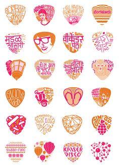 Bombay Duck Designs: Studio of Indian illustrator and visual artist, Sameer Kulavoor. Typography Design, Logo Design, Graphic Design, Lettering, Marathi Calligraphy, Retro Art, Color Stories, Cafe Restaurant, Print Patterns