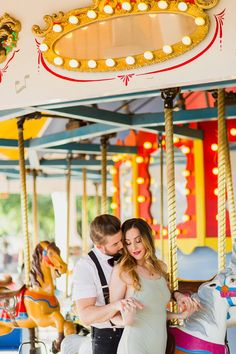 Amusement Park Engagement Photos - Carousel Engagement Session - A Princess Inspired Blog | Rachel Baker Photography