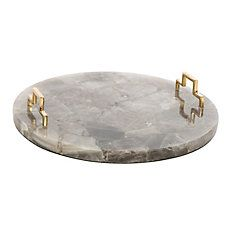 Bradburn Home Decorative Quartz Tray, Gray/Gold, Natural and refined, this decorative tray is crafted of smoky-gray quartz with stepped brass handles in polished gold. Tray Decor, Vases Decor, Marble Tray, Serving Tray Wood, Resin Table, Brass Handles, Smokey Quartz, Contemporary Decor, Resin Art