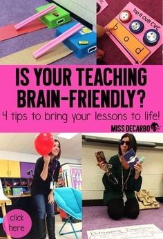 4 Tips to Bring Your Lesson Plans to Life! Learn how to make your activities and ideas brain-friendly. Tons of resources, ideas, activities, and research tips that will lead to lesson plan success! Teacher Tools, Teacher Hacks, Teacher Resources, Teachers Toolbox, Teacher Binder, School Resources, Teacher Stuff, Classroom Resources, Math Teacher