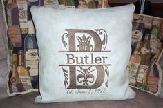 Monogrammed  Last Name Pillow Cover  Taupe by JulieButlerCreations, $32.50