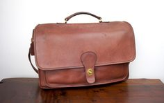 Vintage Coach Rambler Briefcase Brown Leather, Foldover Flap Messenger Bag, 1980s United States, Large Interior for Laptop 040281 by TheLionsDenStudio on Etsy