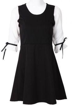 Black Contrast Half Sleeve Ribbon Dress pictures