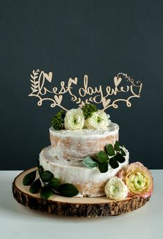 Laser-Cut Wedding Cake Topper  Best Day Ever by lightpaper on Etsy