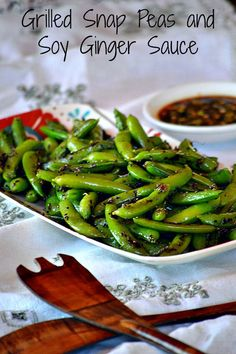 Grilled Snap Peas and Soy Ginger Sauce, featured on Foodie Friday at @puregracefarms