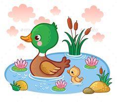 A duck with ducklings floats on the lake. Vector illustration with birds. Picture in the children¡¯s cartoon style. Umění Pro Děti, Malby, Vzory Na Sešívané Deky, Kachny, Děti
