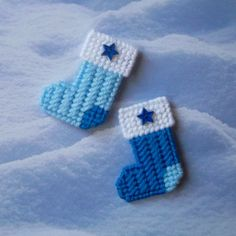 """Plastic Canvas: Christmas Stockings Mini Magnets (set of 2) -- """"Bright and…"""