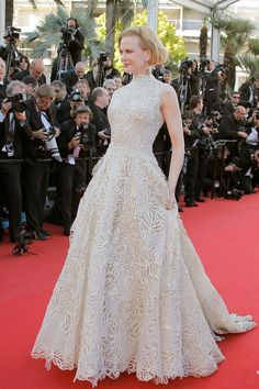 Cannes Nebraska premiere - May 23 2013: Nicole Kidman wore an ivory gown from the Valentino Couture spring/summer 2013 collection. Anne Hathaway was reportedly set to wear this design to the 2013 Oscars, before switching to a Prada dress at the last minute.