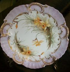 This is probably the most gorgeous plate I have ever seen! It was hand painted by A. Lanterniere in France in the Limoges factory in Late 1890's. Imagine receiving this as a gift! Breathtaking!