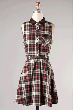 Diamond Cutout Back Plaid Dress In Green/Pink/Brown Leatherette