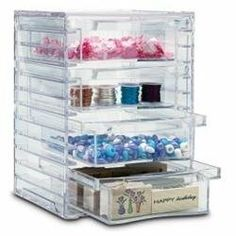 4-Drawer Acrylic Organizer (00080844075952) Crafters scrapbookers and organizers - we have found your solution! This clear 4-drawer organizer is perfect for storage of beads sequins appliqu s stamping products and more. Perfect for your sewing room or sewing area! Store needle packs bobbins thread buttons and small sewing machine parts and accessories. Also great for storing jewelry with separate drawers for rings earrings necklaces and bracelets. Place it on your desktop to organize your…