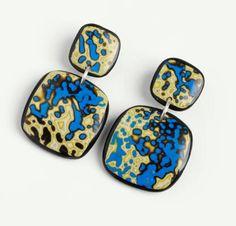 Polymer CLay Mokume Gane Earrings by Melanie Muir