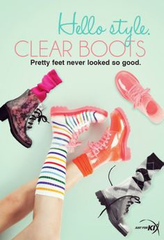 Hello style. Clear boots. Pretty feet never looked so good.