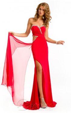 Best Sheath Floor-length Sweetheart Red Chiffon Dress