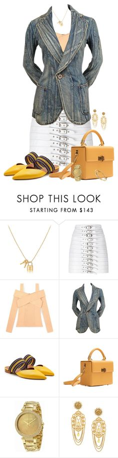 """White Skirt"" by autumnwolf1965 ❤ liked on Polyvore featuring Manokhi, Junya Watanabe, Malone Souliers, Hédara, Michael Kors, Dolce&Gabbana, Cartier, Spring, contest and whiteskirt"