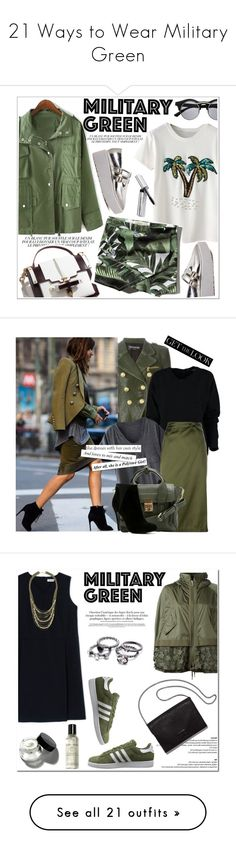 """""""21 Ways to Wear Military Green"""" by polyvore-editorial ❤ liked on Polyvore featuring militarygreen, waystowear, Retrò, Bobbi Brown Cosmetics, Ex Voto Paris, Abercrombie & Fitch, Balmain, 3.1 Phillip Lim, ALDO and GetTheLook"""