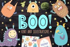 :) Let me introduce a new collection which includes funny uppercase font and cute monsters. T by JuliyaS Pencil Illustration, Graphic Illustration, Christmas Tree Collection, Cute Fonts, Pretty Fonts, Beautiful Fonts, Funny Owls, Funny Monsters, Safari Adventure