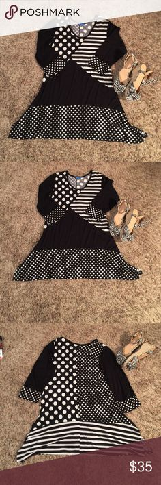 "32"" Black/White Stripe, Polka Dot, medium , Aster This tunic makes a statement, semi V Neck, 3/4 length sleeves, Sharks tooth!! Black/White Polka Dot & Stripes & Plain Black. Can be worn as Dress or Tunic. 32"" long,, 29"" wide at armpit,  Generous Medium, by Aster, worn 1X Aster Tops Tunics"