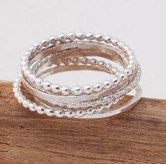 Thin Silver Stacking Rings by madredeolivia on Etsy