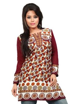 Indian Tunic Top Womens / Kurti Printed Blouse tops - AZDKJD-50 Arras Creations http://www.amazon.com/dp/B00EQK3PP2/ref=cm_sw_r_pi_dp_XtcVvb0PRQ6S4