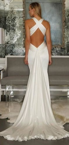 Simple Plunging Mermaid Criss-cross Back Wedding Dress beackless sexy #wedding #dress #bridalgown  http://www.shedressing.com/