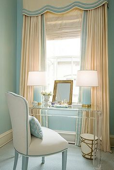 bedrooms - Acrylic lucite desk ivory window treatments blue lamps cornice box blue walls Kelley Interior Design via House of Turquoise Home Staging, Style At Home, Style Blog, Lucite Desk, Lucite Furniture, Acrylic Furniture, Furniture Design, Deco Furniture, Bedroom Furniture