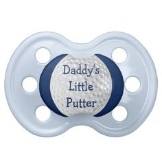 This cute and funny baby ball design features a golf ball with a blue background and dark blue text. Great for the baby girl of a golfer, coach or fan or baby shower gift.
