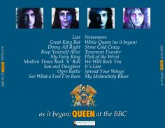 "Queen ""As It Began: Queen At The BBC"" CD cover design: back"