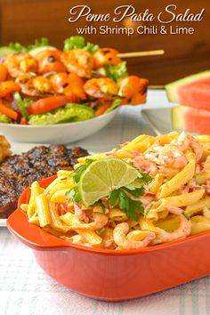 Penne Pasta Salad with Shrimp Chili & Lime. A deliciously simple pasta salad that's terrific to serve with cold cuts, grilled, chicken or fish, or as an ideal BBQ side dish. Salmon Recipes, Lunch Recipes, Summer Recipes, Real Food Recipes, Dinner Recipes, Rock Recipes, Picnic Recipes, Pasta Recipes, Dinner Ideas